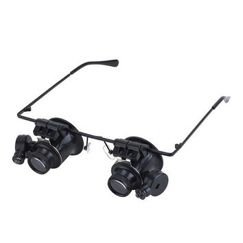 BIJIA 20X Binocular Glasses Magnifying Glasses with 2 LED Lights Loupe Lens Eye for BeachBird watching Boating/Yachting