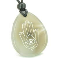 Amulet Magic Hamsa Hand and Evil Eye Reflection Good Luck Powers Agate Pendant Necklace
