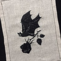Embroidery - A bat and a rose