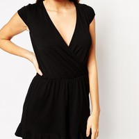 ASOS Wrap Playsuit with Frill Hem
