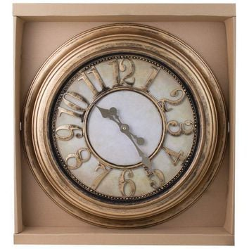 24 Antique Gold Round Wall Clock