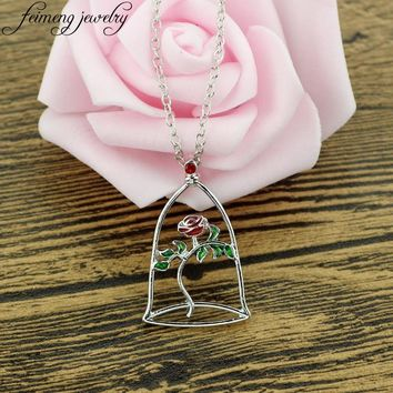 feimeng jewelry Beauty and the Beast Necklace Charm Red Rose Flower in Terrarium Pendant Necklace For Women Fashion Accessories