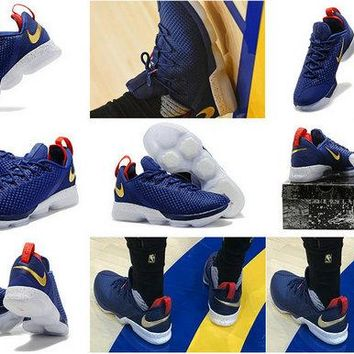 2018 Legit Cheap LBJ 14 NIKE USA Olympic 2020 Low Obsidian Navy Red Gold Brand sneaker