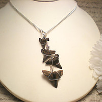 The Sydney- Fossil Shark Tooth Sterling Lariat Necklace- Shark Week