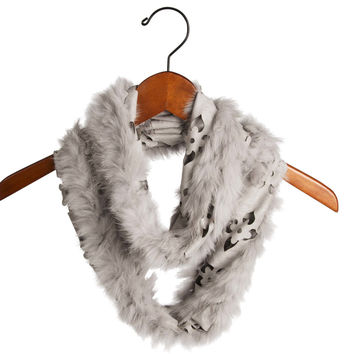 Gray - Micro Suede and Fur Infinity Scarf