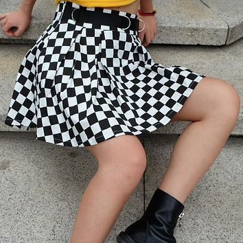 Pleated Checkerboard Skirt