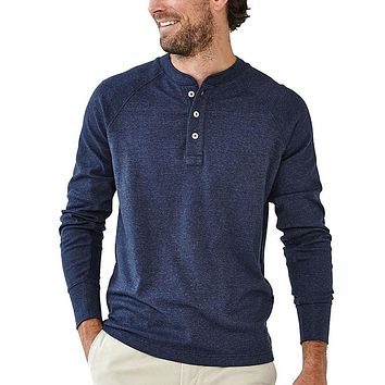 Puremeso Henley Long Sleeve Tee in Navy by The Normal Brand