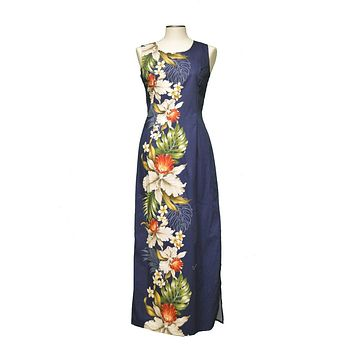 Ky's 100% Cotton Navy Blue Long Tank Womens Aloha Dress with Red and White Hibiscius