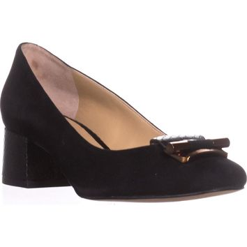MICHAEL Michael Kors Gloria Mid Pump Buckle Classic Pumps, Black Suede, 6.5 US / 36.5 EU