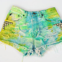 Vintage Tie DYED Aquatic Studded Denim Shorts Size 28