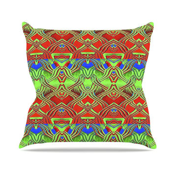 "Anne LaBrie ""Mystic Flow"" Green Red Outdoor Throw Pillow"