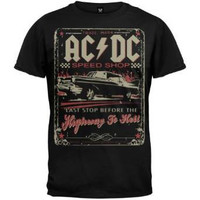 Mens ACDC Speed Shop Highway to Hell T Shirt Black