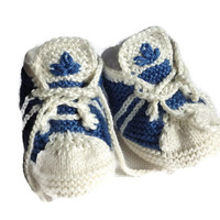 Baby Knitted Adidas Pattern, PDF Pattern, Newborn Sneakers, Knitting Booties, Baby Shoes, Baby Girl Gift, Baby Boy Gift, Blue White color