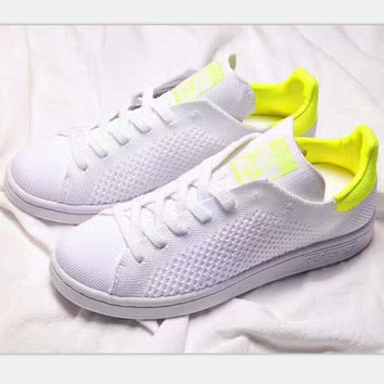 Adidas stan smith sports casual shoes white-yellow logo H-PSXY