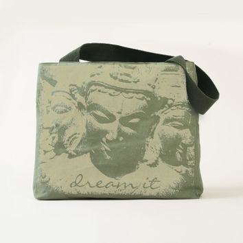 Dream it stone faces photo olive green canvas tote
