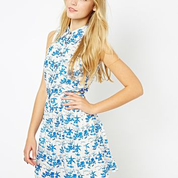 Lavish Alice Tropical Palm Print Dress with Cut Out