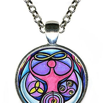 Wiccan Triple Moon Goddess Silver Pendant with Chain Necklace