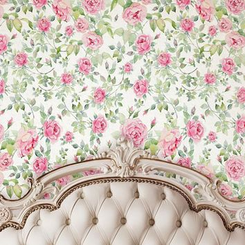Ivory Tufted Headboard With floral Pattern Wall Backdrop - 6207