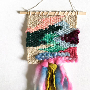 MINI Woven Wall Hanging / Woven Wall Art Tiny / Miniature Weaving