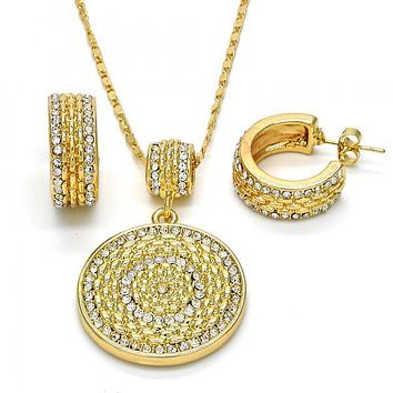 Gold Layered 10.273.0006 Earring and Pendant Adult Set, with White Crystal, Polished Finish, Golden Tone