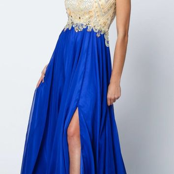 Juliet 636 Royal Blue Beaded Bodice Cap Sleeve Prom Gown with Slit and Train