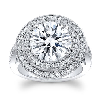 Women's 14k engagement ring with double halo Round Diamonds and 5 ct Center White Sapphire