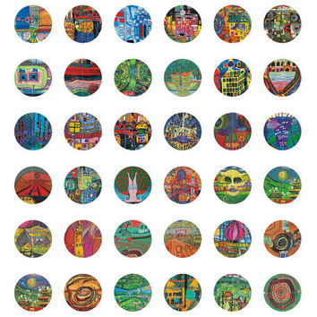 48 Circle Shape - Digital Collage Sheet - Contemporary style - 1 inch - 25 mm