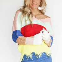Keep You Rainbow Stripe Shredded Sweater