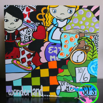 Alice and Wonderland inspired collage painting.