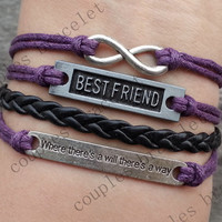 """infinity, karma bracelet, best friend bracelet , """"Where there is a will, there is a way""""--Christmas gift - Best Chosen Gift"""