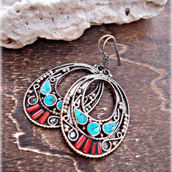 Tibetan Coral Earrings - Nepal Earrings - Tibetan Jewelry - Ethnic Earrings - Gypsy Earrings - Tribal Earrings