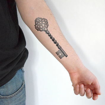 Large Skeleton Key Temporary Tattoo - Black, Accessories, Vintage, Vintage illustration, Spring Accessories