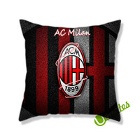 Ac Milan Flag Background Logo Square Pillow Cover