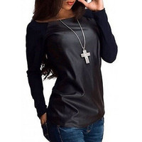 New Sexy Womens Long Sleeve Scoop Neck PU Leather Spliced T-Shirt Casual Loose Pullouver Tops