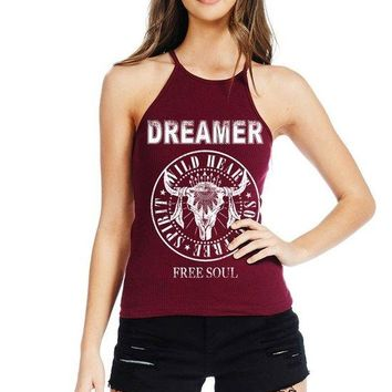 Women's Soft Ribbed Knit Halter Neck Tank Top with Dreamer Print