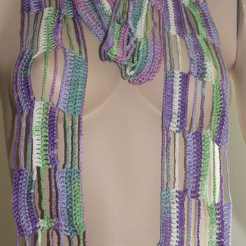 Hand Crocheted Women Scarf / Ready to Shipping / Gift Under 25