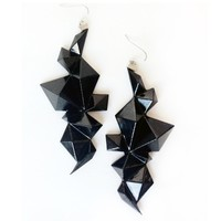 Supermarket: Edgy Geometric Earrings (Black) from Smashing Designs