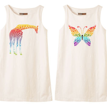 Abstract Rainbow Animals Printed Vintage 100% Cotton Shift Dress WDS_01