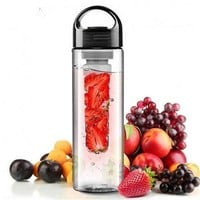 A Plastic Fruit Infuser Water Bottle With Filter