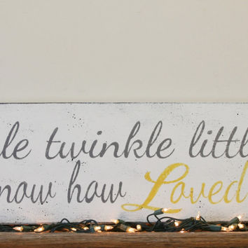 Twinkle Twinkle Little Star Do You Know How Loved You Are Wood Sign Girls Nursery Decor Boys Nursery Decor Shabby Chic Yellow and Gray