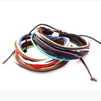 2 pcs/set(brown/black) Stylish Handmade Leather wristband Braided multicolor Bracelets for women and men (Color: Brown) = 1669358276