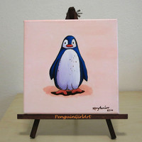 Original painting: little penguin saying hello