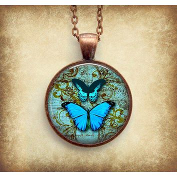 Butterfly Necklace: Blue Butterfly. Vintage Globe. Pendant. Charms (1069)