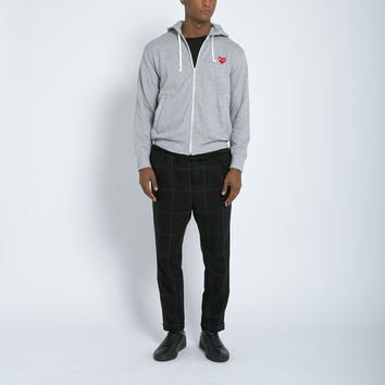 Comme des Garçons Play Cotton Back Pile Red Emblem Hoodie in Grey
