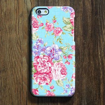 Elegant Blue Pink Floral iPhone 6s Case iPhone 6s Plus Case iPhone 6 Cover iPhone 5S 5 iPhone 5C iPhone 4s 4 Samsung Galaxy S6 Edge Galaxy s6 s5 s4 Galaxy Note 5ÌâåÊNote 4 Case 142