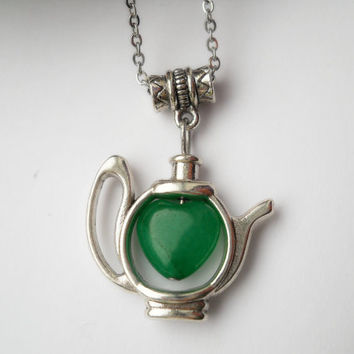 Teapot pendant, surgical steel chain, teapot necklace, tiny teapot pendant, green heart jade gemstone bead, tea lovers gift, tea party time