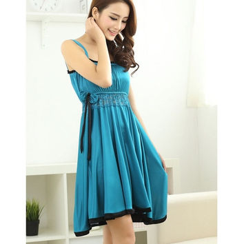 New Pajamas for Women Female Super Soft Pajamas Sexy Sling ice Silk Nightdress = 1716097220