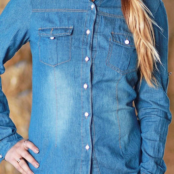 Denim Roll-Tab Shirt