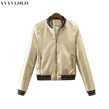 Trendy 2017 Spring New Brand Women Bomber Jacket  Womens Leather Jacket Metal Color Single Breasted  female jacket JQ-9063 AT_94_13