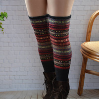 Knit womens leg warmers, thigh high socks.over knee socks,winter accessories, Chunky wool socks,Colorful long leg warmer, 18in long socks